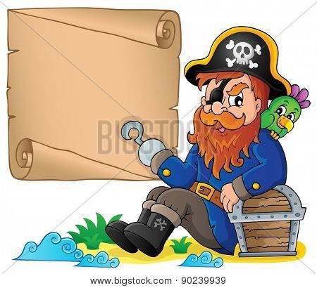 Sitting pirate theme image 6 - eps10 vector illustration.