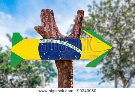 Brazil Flag wooden sign with countryside background