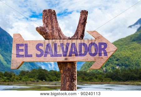 El Salvador wooden sign with mountains background