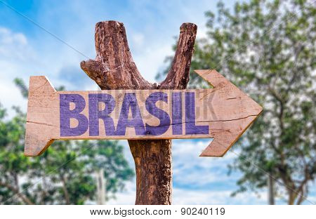 Brazil (in Portuguese)  wooden sign with countryside background