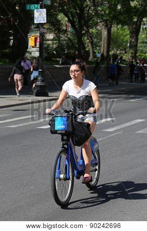 Unidentified Citi bike rider in Manhattan