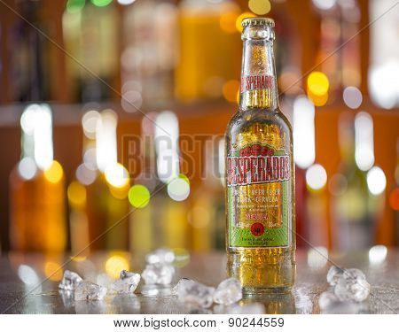 PRAGUE, CZ - MAY 5, 2015: Desperados, a pale lager flavored with tequila is a popular beer produced by Heineken and sold in over 50 countries.