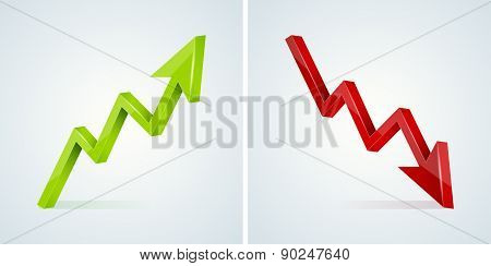 Green And Red 3D Glossy Arrow