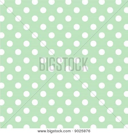 Pastel Green, Big White Polka Dots
