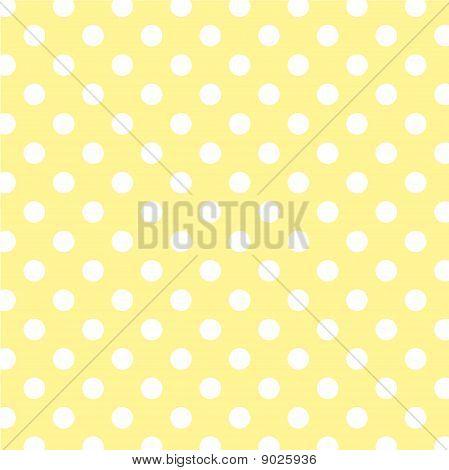 Pastel Yellow, Big White Polka Dots