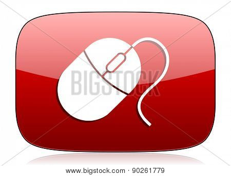 mouse red glossy web icon