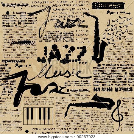 Seamless background pattern. Music jazz Newspaper. Text is unreadable. poster