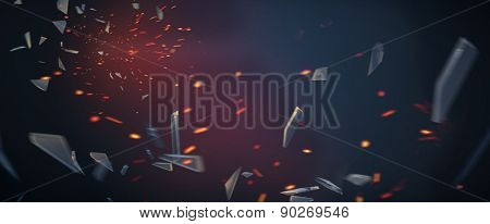 Broken glass with fire sparks background poster