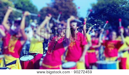 Abstract Background. People Playing Drum - Blur Effect Defocusing Filter Applied, With Vintage Insta