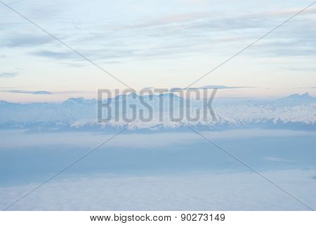 Andes mountains from the sky