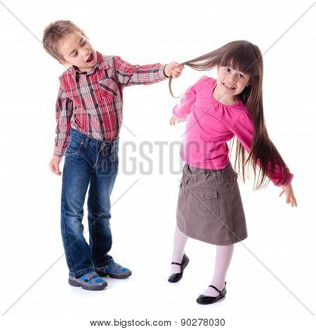 Boy Pulling Girl's Hair
