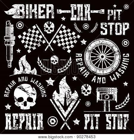 Car Repair And Racing Badges