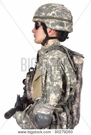 soldier with rifle stands sideways on a white background poster