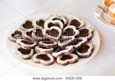 Heart Shaped Buscuits On The Plate