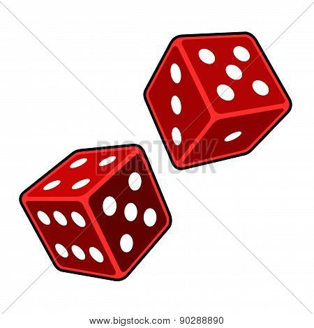 Red Dice Cubes on White Background. Vector