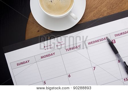 Office Calendar Planner On The Coffee Table