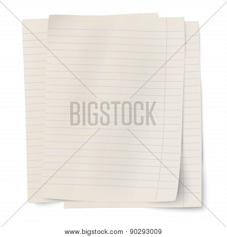 Vector Stack Of Notebook Paper Sheets Isolated On White Background