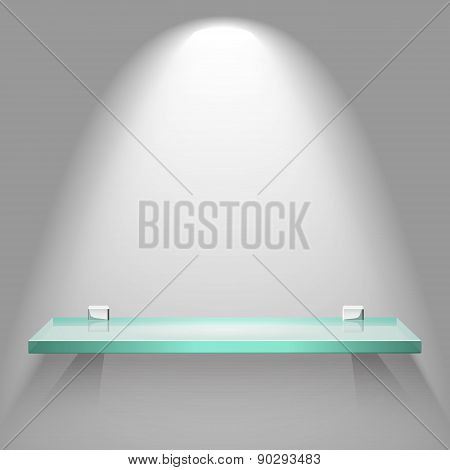 Empty Glass Shelf Under Bright Soft Lighting Hanging On A Wall. Vector Advertising Background.