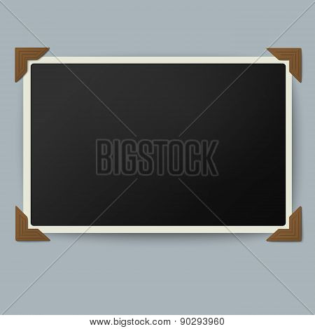 Retro Photo Frame With Straight Edges In Vintage Brown Photo Corners Isolated