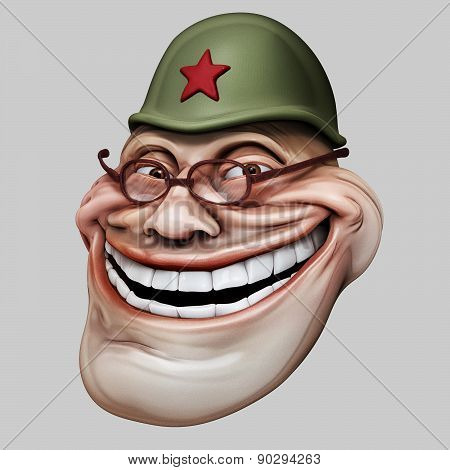 Trollface In Russian Helmet. Internet Troll 3D Illustration