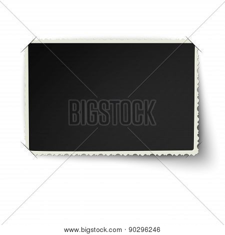 Retro Not Straight Edge Photo Frame With One Not Fixed Corner In Photo Album Isolated On White Backg