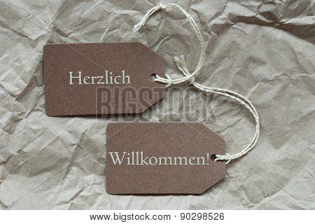 Two Labels Herzlich Willkommen Mean Welcome Paper