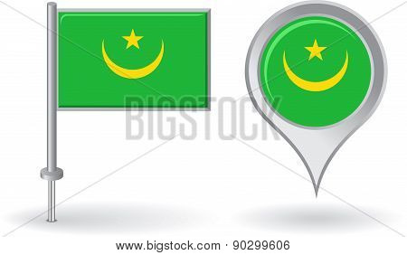 Mauritanian pin icon and map pointer flag. Vector