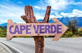 Cape Verde wooden sign with road background poster