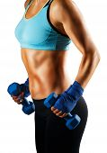 Ideal sportive torso of young woman with bronzed skin and strong abs muscles isolated poster