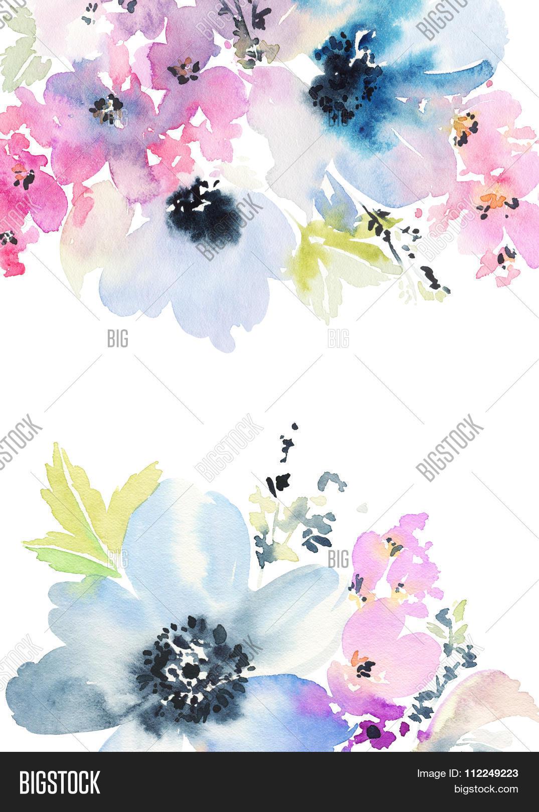 Greeting card flowers image photo free trial bigstock greeting card with flowers pastel colors handmade watercolor painting wedding birthday izmirmasajfo