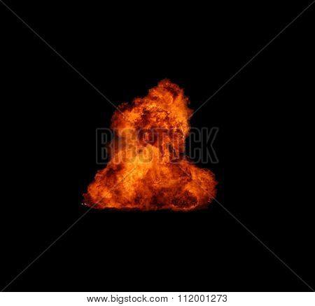 Detonation fire on black background