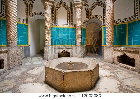 Corridors Of Historical Hamam Bath In Oriental Style With Columns