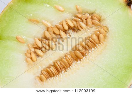 Closeup Melon With Pips As Food Background.