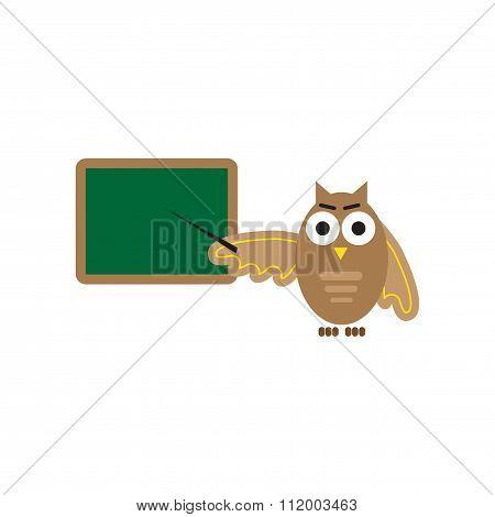 flat icon on white background owl teacher