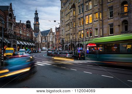 Traffic On Raadhuisstraat, In Amsterdam, The Netherlands.
