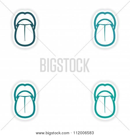Set of paper stickers on white background mouth and tongue