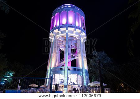 Colourfully Lightened Water-tower - 2. Turquoise