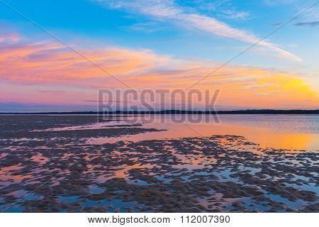 Beauriful Golden Sunset At Inverloch Foreshore Beach
