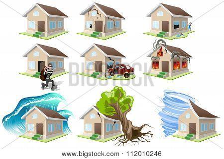 Set homes misfortune. House insurance. Property insurance