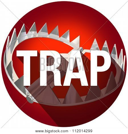 Steel bear trap with metal teeth and long shadow word to illustrate or warn of risk or danger