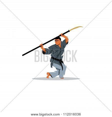 Naginatajutsu Japanese Samurai martial arts master with Naginata. Vector Illustration.
