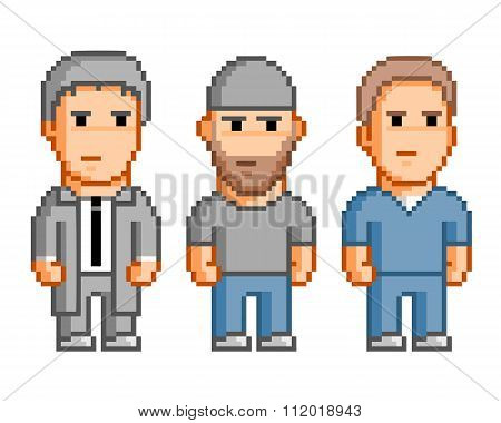 Pixel People For 8 Bit Video Game