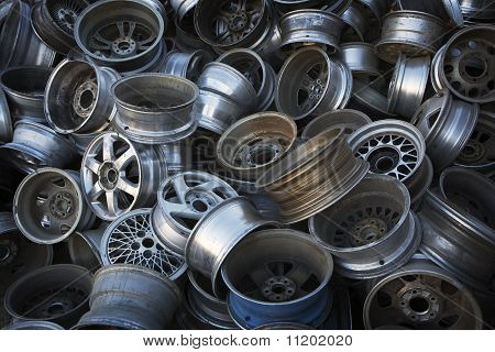 Car & Truck Rims ready for Recycling