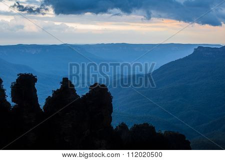 Famous Three Sisters Rock Formation Silhouette In Blue Mountains Of Nsw, Australia