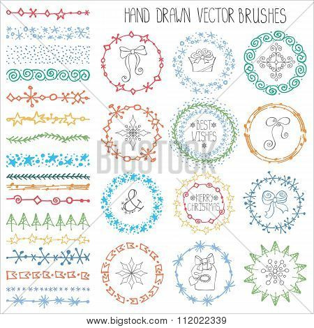 Winter doodle brushes set.Christmas decor.Colored