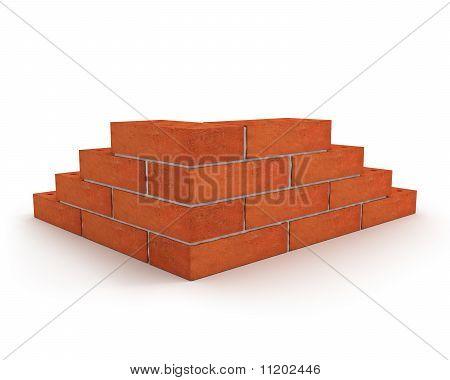 Corner Of Wall Made From Orange Bricks