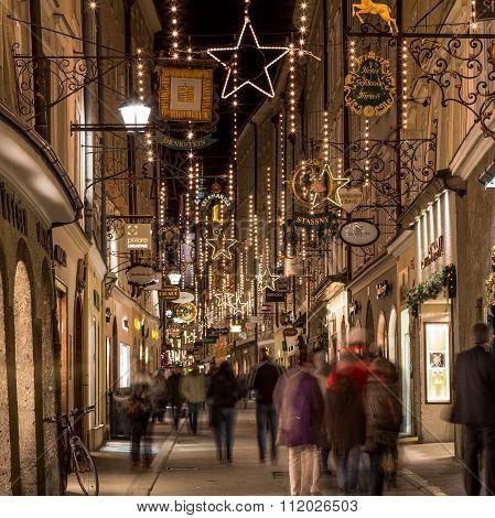 Getreidegasse In Salzburg At Christmas