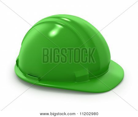Green Builder's Helmet Isolated