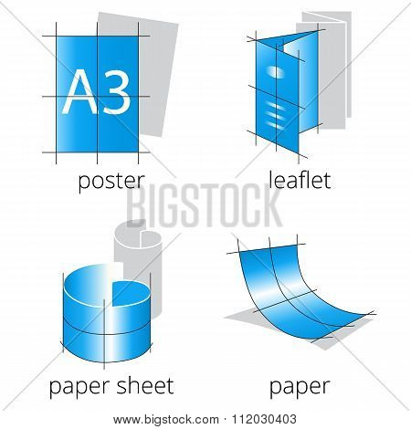 Printing shop services blue icons set. Part 1