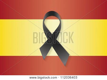 Spain Flag Black Ribbon